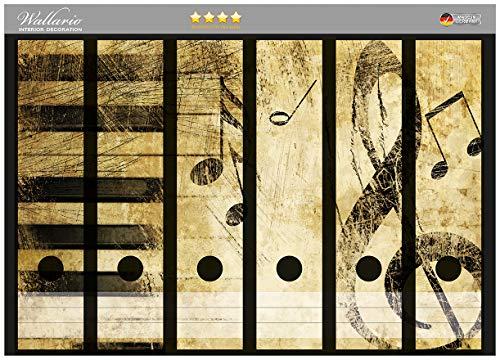 Wallario Ordnerrücken Sticker Klaviatur in Hellbraun in Premiumqualität - Größe 36 x 30 cm, passend für 6 breite Ordnerrücken