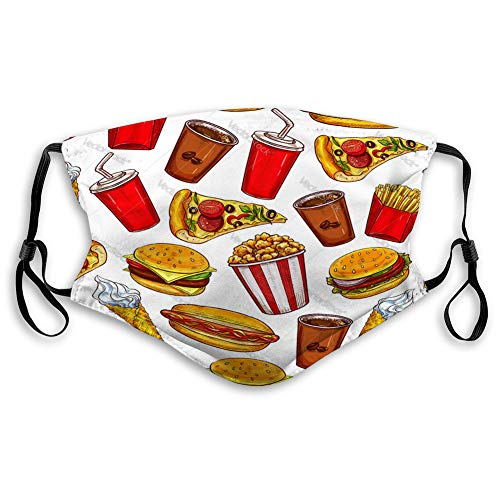 Buy langhu Mouth Shield Reusable Outdoor Mouth Cover Fast Food Seamless Pattern with Burgers and dri...