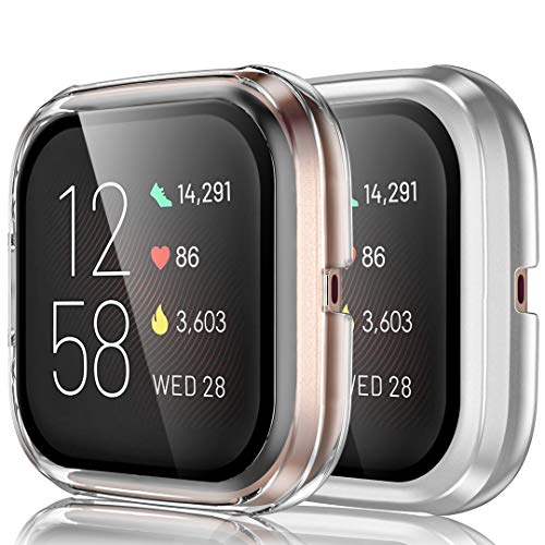 Ouwegaga Compatible with Fitbit Versa 2 Screen Protector Case Tempered Glass Cover HD Clarity Case for Fitbit Versa 2 Smartwatch Bands Accessories Clear Silver 2 Pack