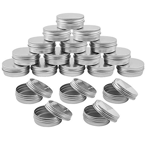 LUCY WEI 20 Pcs Kerzenbehälter Kerzendose, 30 ml Aluminium Döschen mit Schraubdeckel für Kerzen,DIY Kerzen - Silber Kerzendosen