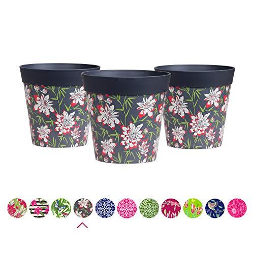 Hum Flowerpots Plant Pots, set of 3 grey floral, colourful planters indoor/outdoor plastic pots 15cm x 15cm (14 designs available)