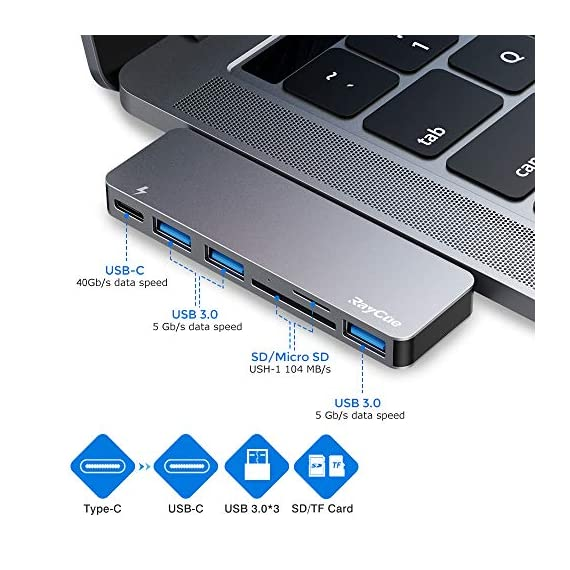 USB C Hub, 6 in 1 Aluminum Type C Hub Adapter, MacBook Pro 2020 Accessories with 3 USB 3.0 Ports, TF/SD Card Reader, USB… 2 【MacBook Pro USB Accessories】 This USB C Hub is very powerful, with USB C charging port with power supply, SD card reader, TF card reader, 3 USB 3.0 ports , support for keyboard, mouse, USB driver, external disk connection to my MacBook Pro. It works beautifully with MacBook Pro and matches it as well color wise. 【Super Speed USB 3.0 Transfer】 Three 3.0 USB ports support up to 5 Gbps transfer rates, connecting to smartphones, tablets and hard drives for easy high-speed data transfer. It supports high speed up to 87W PD charging. 【Thunderbolt 3 Charging】 This USB C adapter With Thunderbolt 3 pass-through charging port that supports Power Delivery(PD), quickly charge your connected devices while displaying or transferring data, worry-free about power storage.