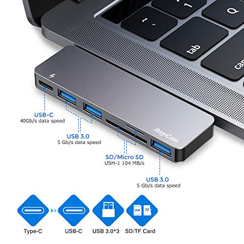 USB C Hub, 6 in 1 Aluminum Type C Hub Adapter, MacBook Pro Accessories with 3 USB 3.0 Ports, TF/SD Card Reader, USB-C Power Delivery for MacBook Pro 13″ and 15″ 2016/2017/2018, MacBook Air 2018 2019
