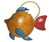 Giesskanne Fisch gelb/rot/blau aus Metall Blech Deko Gießkanne Gartendeko - Gall & Zick