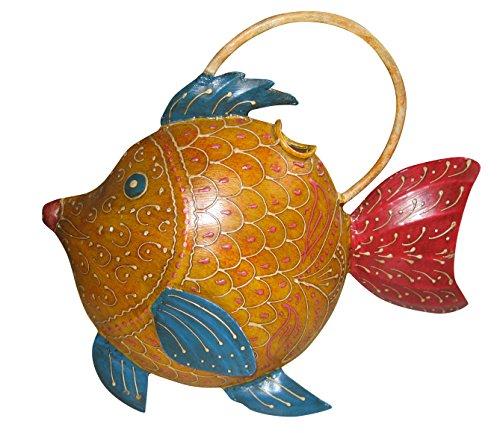 Arrosoir poisson jaune/rouge/bleu en métal