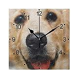 DragonSwordlinsu LORVIES - Reloj de pared con diseño de perro adorable, silencioso, acrílico no pinchazos, 20 cm, cuadrado decorativo para el hogar, oficina, cocina, dormitorio, sala de estar