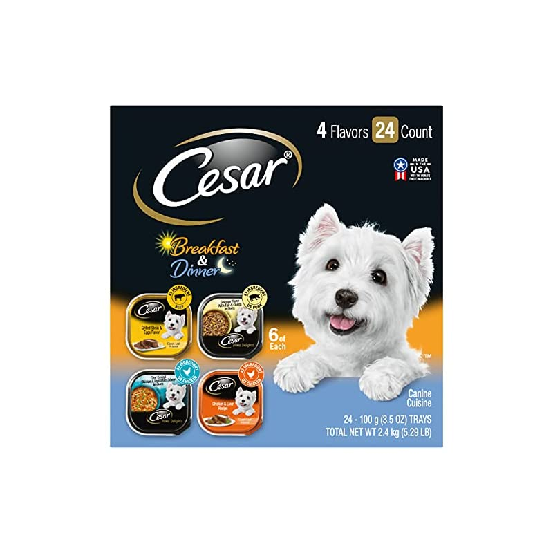 dog supplies online cesar soft wet dog food home delights & classic loaf in sauce breakfast & dinner variety pack, (24) 3.5 oz. easy peel trays