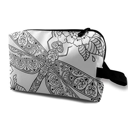 Makeup Bag Cosmetic Pouch Circular Pattern Mandala Dragonfly Flower Henna Mehndi Tattoo Multi-Functional Bag Travel Kit Storage Bag