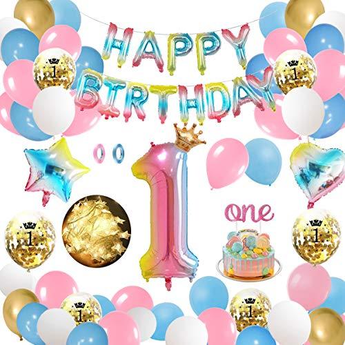 APERIL Globos de Cumpleaños 1 Año Decoraciones Cumpleaños Niños Arcoiris Gradient Gigante Numeros 1 Feliz Cumpleaños Guirnalda y Cadena de luz LED Adornos Fiesta Cumpleaños Infantil…