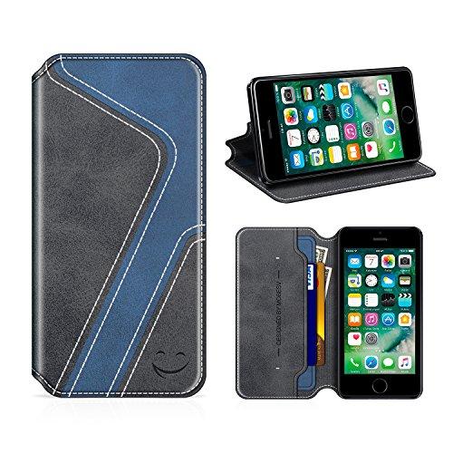 MOBESV Smiley Custodia in Pelle iPhone Custodia iPhone 5S Cover Libro/Portafoglio Porta per Cellulare iPhone SE / 5S / 5 - Nero/Blu Scuro