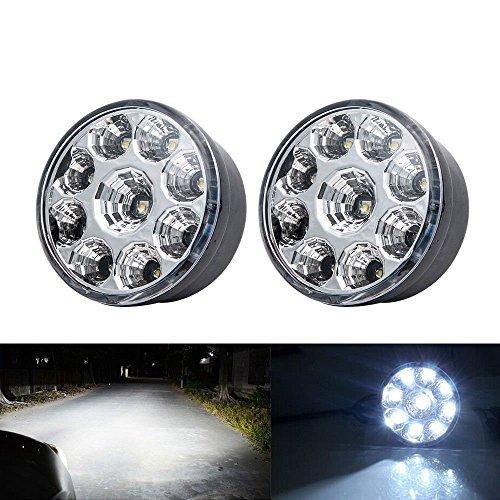Folconroad Tagfahrlicht/Nebelscheinwerfer, 12 V, Weiß, 9 LEDs, rund, 2 Stück
