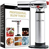 Spicy Dew Blow Torch - Creme Brulee Torch - Refillable Professional Culinary Kitchen Torch with Safety Lock and Adjustable Flame - Micro Butane Torch with Fuel Gauge - Cooking Food Torch (Silver)