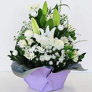 お彼岸 お供え 仏花 ゆりのお供え花 アレンジメント サイズで選べる 色合いで選べる エーデルワイス 花工房 (Mサイズ, 白上がり)