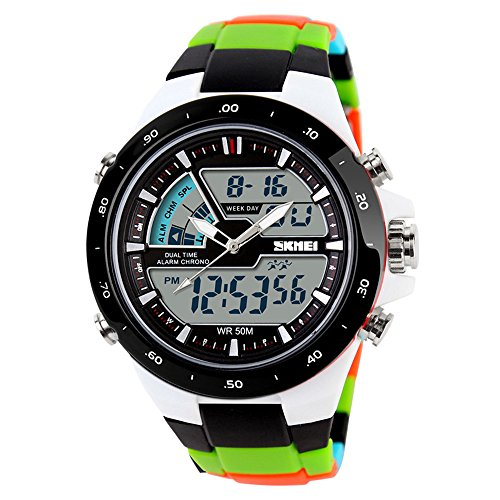Bounabay Men's Analog Digital Dual-time Display Multifunctional Sports Wrist Watch,5ATM Waterproof