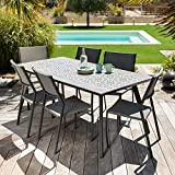 iD FOR YOU - Conjunto de jardín Rimini – 6 sillas + mesa recta 182 x 92 cm con bandeja de cerámica de Mosaico