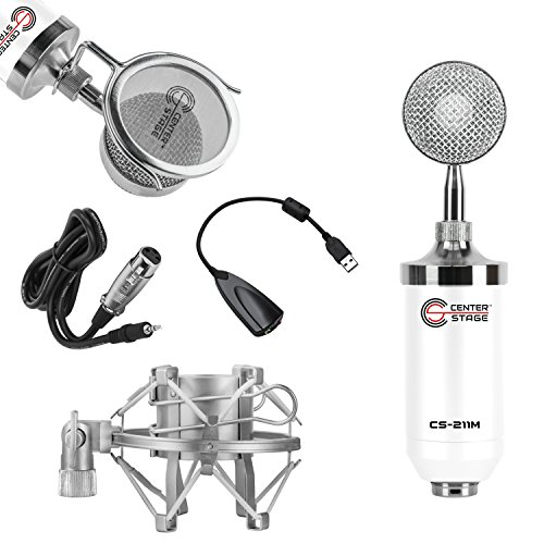 CenterStage CS-211 Studio Broadcast/Podcast & Recording Condenser Vocal Microphone Bundle Kit with Pop Filter + Shockmount + XLR to 3.5mm Cable + USB Soundcard