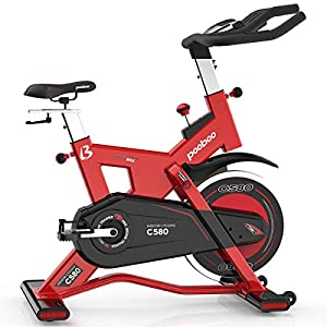 pooboo Pro Indoor Cycling Bike, Belt Drive Exercise Bike Stationary,40lb flywheel Smooth Commercial Standard with LCD Display Bicycle Heart Pulse Trainer