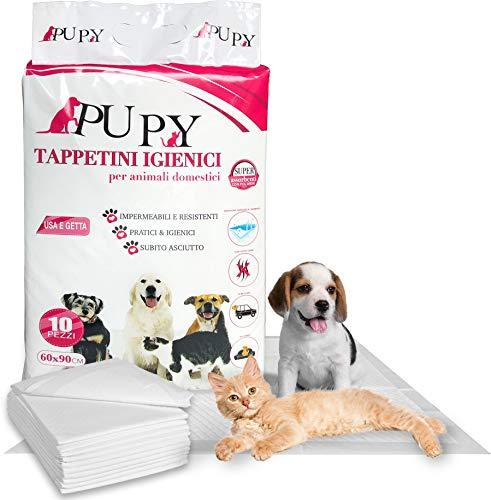 PUPY 100 Tappetini Igienici per Cani 60x90 | Traversine di Ultima Generazione con Polimeri Super Assorbenti | 4 Angoli Adesivi | Traverse per Cani Gatti e Animali Domestici (60X90)