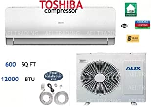Aux- Air Conditioner Ductless Wall Mount Mini Split System Air Conditioner & Heat Pump Full Set, 12000 BTU 110V