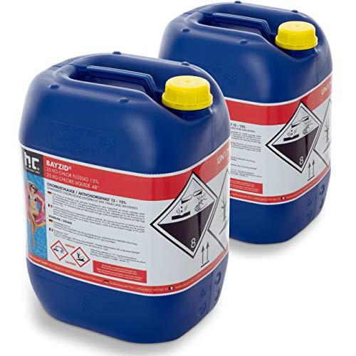 Höfer Chemie Chlor Flüssig 2 x 25 kg - Pool Flüssigchlor mit 13 bis 15% Aktivchlorgehalt zur Poolpflege und Wasserdesinfektion - Made in Germany