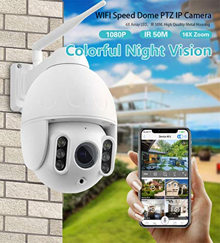 Full HD 1080P PTZ IP-dome-camera, draadloze wifi-netwerkcamera nachtzicht 50 meter 16-voudige zoom IP66 outdoor waterdichte monitor, Us