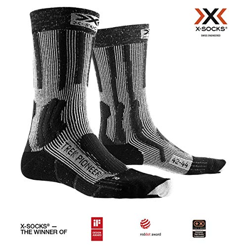 X-SOCKS Trek Pioneer Chaussette Mixte Adulte, Opal Black/Flocculus White, FR : L (Taille Fabricant : 42-44)