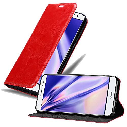 Cadorabo Hülle für Huawei NOVA Plus in Apfel ROT - Handyhülle mit Magnetverschluss, Standfunktion & Kartenfach - Hülle Cover Schutzhülle Etui Tasche Book Klapp Style