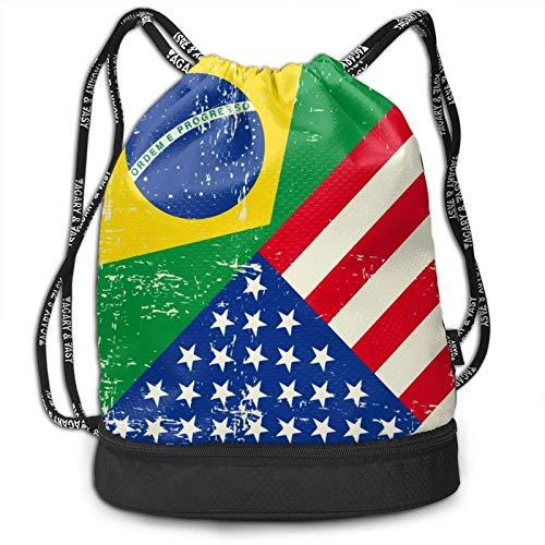 XCNGG USA Brasilien Flagge Kordelzug Rucksack Multifunktionale Bundle Rucksack Rucksack Mit Reißverschluss Fach String Tasche Für Männer Frauen Teenager Schwimmen Sport Gym