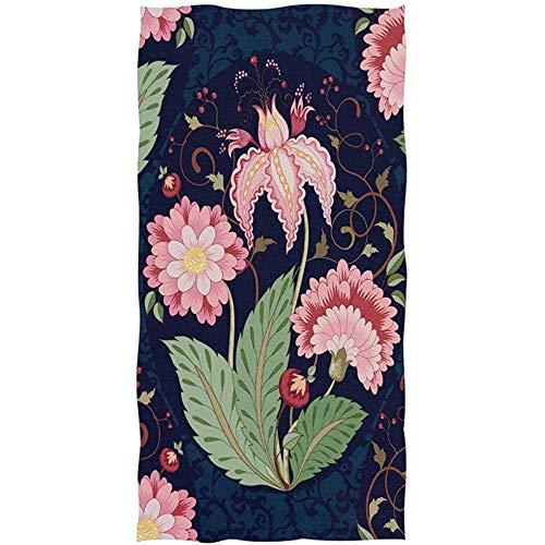 Candi-Shop Ramo di Fiori Fantasia Floreale Stampa Foglie Viticcio E Berry Tree of Life Design su Asciugamani Blu Scuro Asciugamano Asciugamani per Bagno