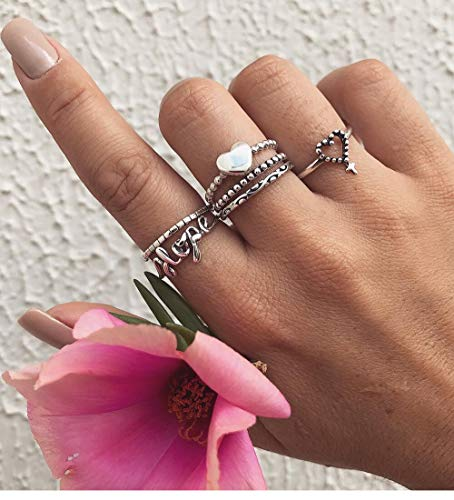 BERYUAN 6Pcs Vintage Casual Silver Ring Set Women Cross Heart Ring Set Statement Love Ring Gift For Her Valentine Gift For Girls Teens