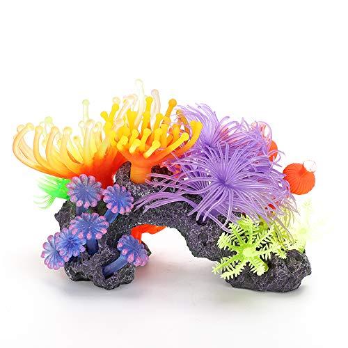 Ruiqas Aquarium Pflanzendekoration Künstliche Koralle Lebendige Weichkorallen Ornament Simulation Glüheffekt Aquarium Dekor (502S Koralle)