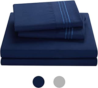 MiaoMao Home 3-Piece Removable Duvet Cover 48''x72''for Weighted Blanket   Machine Washable  16 Ties for Secure Fastening   Extra Soft   Breathable & Cooling - Wrinkle Free(Navy Blue, 48''x72'')