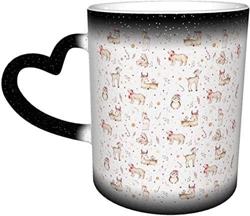 Tazas de café Acuarela mágica Vacaciones Animales del bosque Bebé Ciervo Oso y búho Taza sensible al calor que cambia de color en el cielo Taza de cerámica Regalos personalizados p