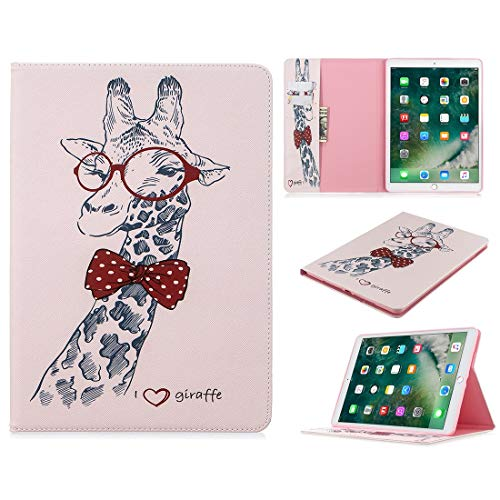 ZHIWEI Tablet PC Bag Pattern Flip Protection PU Leather Wallet Tablet Case For iPad Pro 10.5 2017/2019 Magnetic Ultra-thin Anti-drop Bracket Card Slot Case (Color : Giraffe)