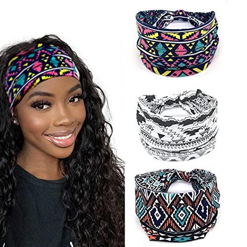 Yean Diadema de yoga ancha para la cabeza impresa a cuadros banda de pelo de tela elástica para mujeres y niñas (paquete de 3)