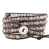 KELITCH Armband Männer Frau Personalisiert Labradorit Mond Stein Und Kristall Perle 5 Wickeln Armband Auf Dunkel Braun Leder