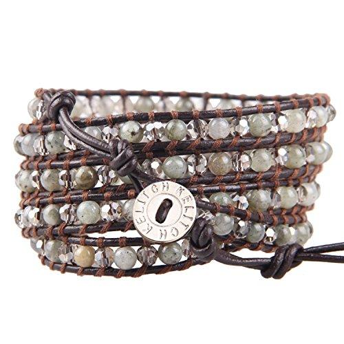 KELITCH Handgemachte Wrap Armbänder Labradorite Perlen Leder Armband Handgemachte Fashion Frauen Armreifen (Labradorit)