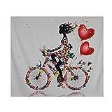 Tapiz de flores multicolor, diseño vintage de mariposas, paisajes, equitación, bicicleta, mujer,...