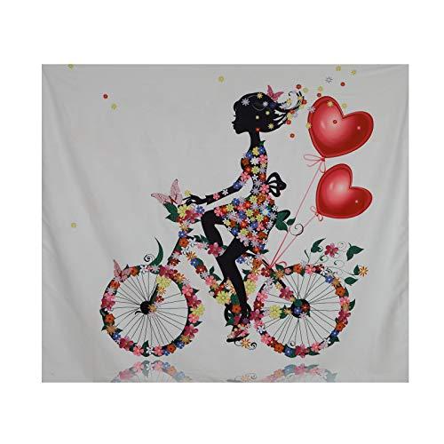 Tapiz de flores multicolor, diseño vintage de mariposas, paisajes, equitación, bicicleta, mujer, decoración abstracta para dormitorio, salón, dormitorio