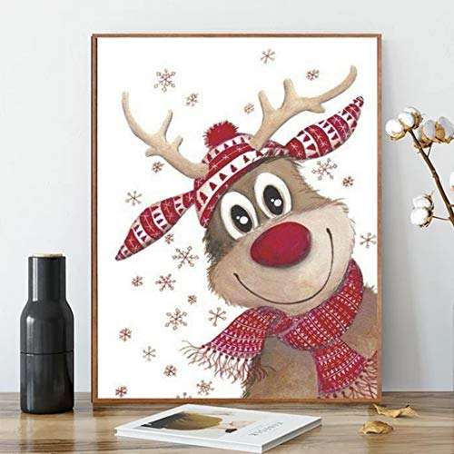 ACENGXI Christmas Paint by Numbers Christmas DIY Paint by Numbers Christmas Deer DIY Canvas Paint by Numbers Santa Claus Acrylic Painting Home Decor Paint by Numbers Reindeer for Adults Kids 16x20In