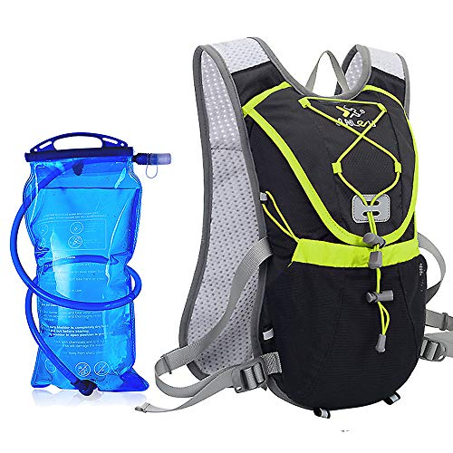 ENOUBAIL Hydration Pack Hydration Vest Lightweight Breathable Water Bottle Backpack for Outdoors Running Cycling Climbing with 15L Hydration BladderBlack