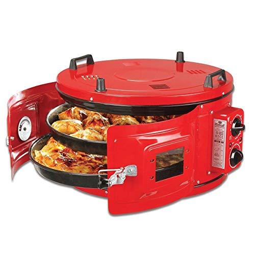 LAPE UP SNAP - Forno elettrico, forno turco rotondo, elettrico, marocchino, forno per pizza / pane, colore: Rosso