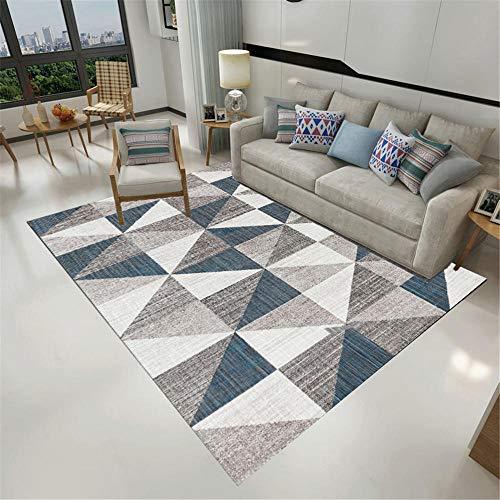 RUGMRZ Outdoor Rug grey Carpet salon gray blue triangle square pattern multi-size carpet anti-slip Soft Carpet 100X200CM Office Carpet 3ft 3.4''X6ft 6.7''