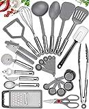 25 Kitchen Utensil Set Home Hero - Nylon Cooking Utensils - Kitchen Utensils with Spatula - Kitchen Gadgets Cookware Set - Kitchen Tool Set - Grey