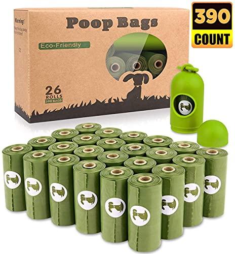 Yingdelai Bolsas Caca Perro Biodegradable 390 Bolsas (26 Rollos) - Bolsas Perro Caca con 1 Gratis Dispensador, Prueba de Fugas y Fragante Bolsas para Caca de Perro