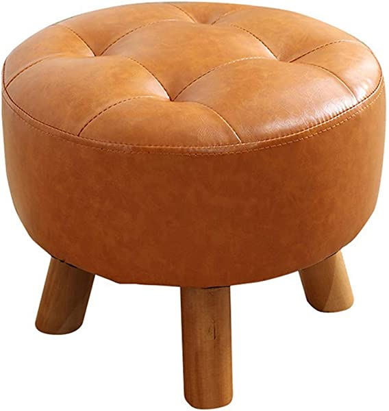 Luxury Round Footstool Stool Upholstered Pouffe Stool Sofa Change Shoes With Solid Wood 4Legs And PU Leather Cover Orange