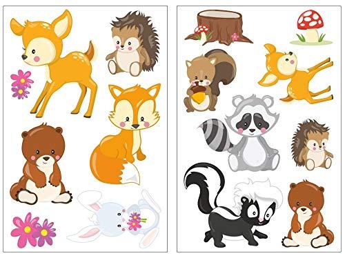 Samunshi® 15x Wandsticker Waldtiere Wandtattoo Kinderzimmer Mädchen Jungen Kinder Wandtattoo Babyzimmer Deko Junge Wall Stickers 2X 16x26cm