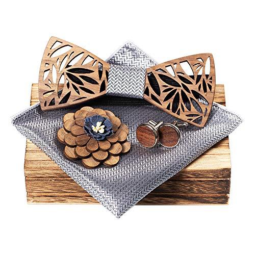 KOOWI Juego de Pajarita de Madera para Hombre Hecho a Mano clásico con bufanda cuadrada, Gemelos, Broche y Caja de Regalo (C3)