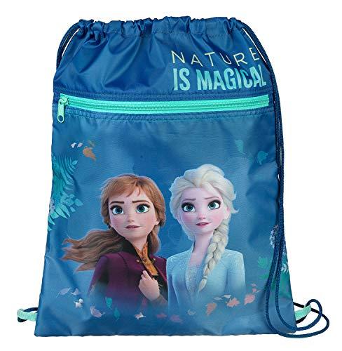 Undercover Schuhbeutel mit Sicherheitsverschluss, Disney Frozen II, mit Reißverschlusstasche, ca. 32 x 41 cm, blau