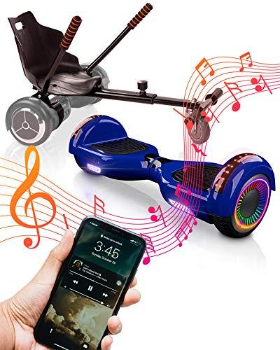 ACBK Bluetooth UL2272 Hoverboard + Silla Kart, Juventud Unisex, Azul, Rueda LED 6.5